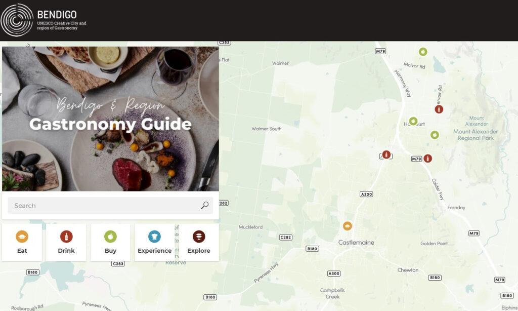 Bendigo and Region Gastronomy Guide Screenshot